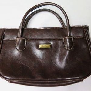Rosetti Brown Leather Purse Retractable Handles